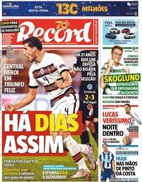 capa Jornal Record de 18 novembro 2020