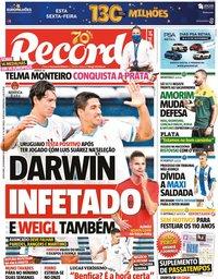 capa Jornal Record de 20 novembro 2020