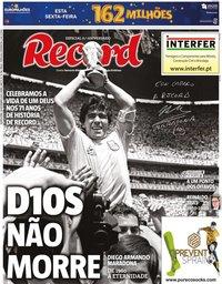 capa Jornal Record de 26 novembro 2020