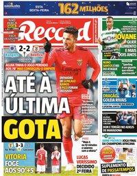 capa Jornal Record de 27 novembro 2020