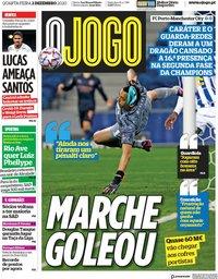 capa Jornal O Jogo de 2 dezembro 2020