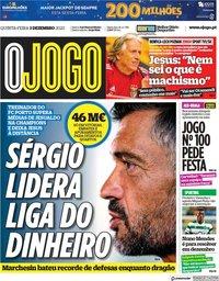 capa Jornal O Jogo de 3 dezembro 2020