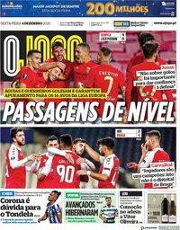 capa Jornal O Jogo de 4 dezembro 2020