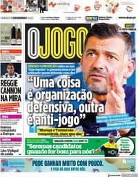 capa Jornal O Jogo de 5 dezembro 2020