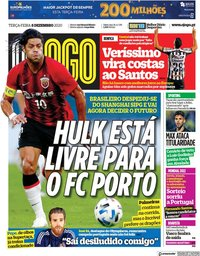 capa Jornal O Jogo de 8 dezembro 2020