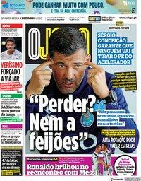 capa Jornal O Jogo de 9 dezembro 2020
