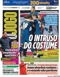 capa Jornal O Jogo de 10 dezembro 2020