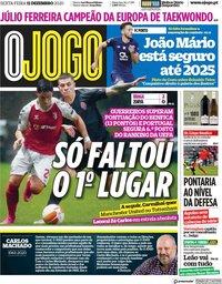 capa Jornal O Jogo de 11 dezembro 2020