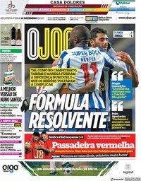 capa Jornal O Jogo de 14 dezembro 2020