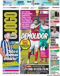capa Jornal O Jogo de 18 dezembro 2020