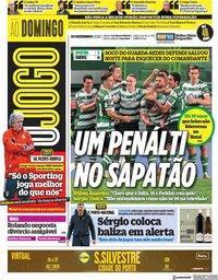 capa Jornal O Jogo de 20 dezembro 2020