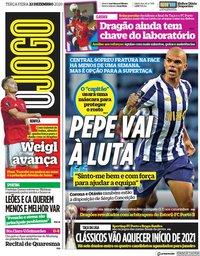 capa Jornal O Jogo de 22 dezembro 2020
