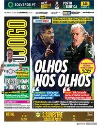 capa Jornal O Jogo de 23 dezembro 2020