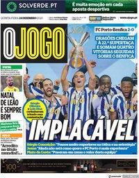 capa Jornal O Jogo de 24 dezembro 2020