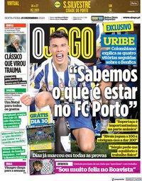 capa Jornal O Jogo de 25 dezembro 2020