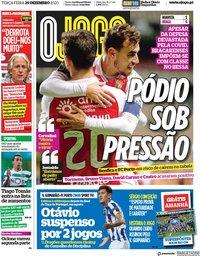 capa Jornal O Jogo de 29 dezembro 2020
