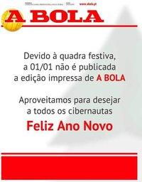 capa Jornal A Bola de 1 janeiro 2021