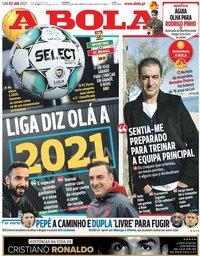 capa Jornal A Bola de 2 janeiro 2021