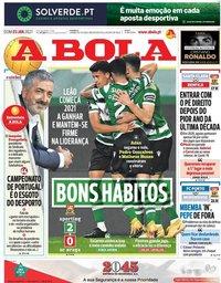 capa Jornal A Bola de 3 janeiro 2021