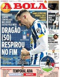 capa Jornal A Bola de 4 janeiro 2021