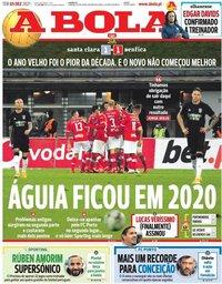 capa Jornal A Bola de 5 janeiro 2021