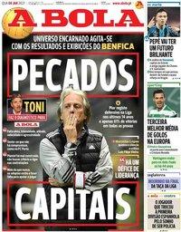 capa Jornal A Bola de 6 janeiro 2021