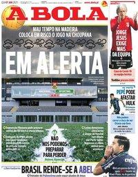 capa Jornal A Bola de 7 janeiro 2021