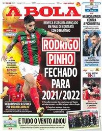 capa Jornal A Bola de 8 janeiro 2021