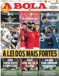 capa Jornal A Bola de 9 janeiro 2021