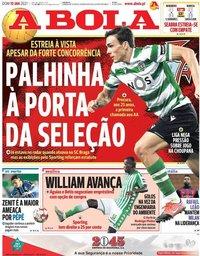 capa Jornal A Bola de 10 janeiro 2021