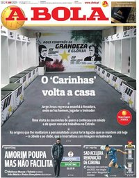 capa Jornal A Bola de 11 janeiro 2021