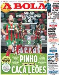 capa Jornal A Bola de 12 janeiro 2021