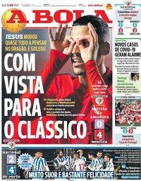 capa Jornal A Bola de 13 janeiro 2021