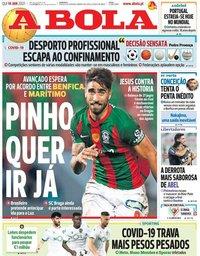 capa Jornal A Bola de 14 janeiro 2021