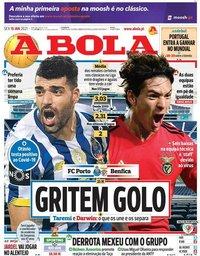 capa Jornal A Bola de 15 janeiro 2021