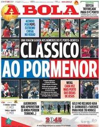 capa Jornal A Bola de 17 janeiro 2021