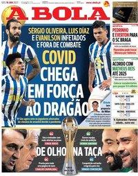 capa Jornal A Bola de 18 janeiro 2021