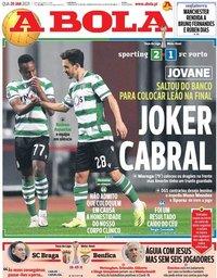 capa Jornal A Bola de 20 janeiro 2021