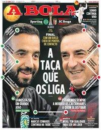 capa Jornal A Bola de 23 janeiro 2021