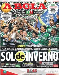 capa Jornal A Bola de 24 janeiro 2021