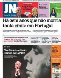 capa Jornal de Notícias de 2 janeiro 2021