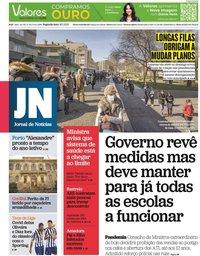 capa Jornal de Notícias de 18 janeiro 2021