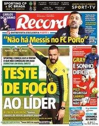 capa Jornal Record de 2 janeiro 2021
