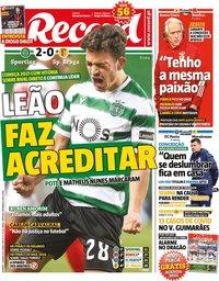capa Jornal Record de 3 janeiro 2021