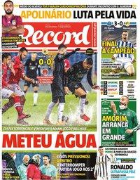 capa Jornal Record de 4 janeiro 2021