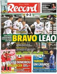 capa Jornal Record de 9 janeiro 2021