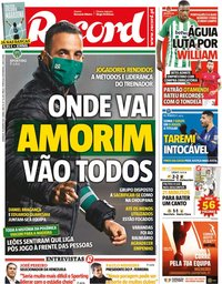 capa Jornal Record de 10 janeiro 2021