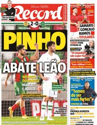 capa Jornal Record de 12 janeiro 2021