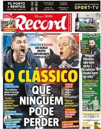 capa Jornal Record de 15 janeiro 2021