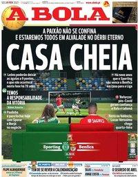 capa Jornal A Bola de 1 fevereiro 2021
